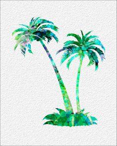 Palm Trees  Watercolor Art Print 8 x 10 Teal  by ImageDeSignStudio