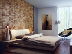 Ideas:Wood Block Headboard Wall Contemporary Bedroom Design With Unique Wall Covering Ideas Plus Wood Floor Modern Bedroom Decor Plus Beautiful Bedside Table And Cream Headboard Design Unique Wall Covering Ideas Bedroom Wall Designs, Modern Bedroom Decor, Headboard Designs, Headboard Ideas, Wood Headboard, Bedroom Ideas, Modern Headboard, Bedroom Interiors, Bedroom Furniture