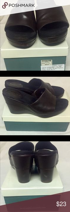 Coldwater Creek Dark Brown Leather Wedge Platform Dark Brown Wedge Platforms. Upper Leather and Balance man Made material. Signs of wear on shoes and bottoms but shoes are in good condition. Coldwater Creek by Aerosoles Shoes Platforms