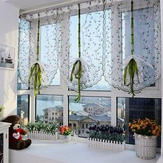 Norbi Fresh Pastoral Daisy Printed Tulle Voile Lifting Curtain Window Balcony Sheer Valance (Pink) Norbi