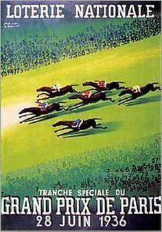 POSTER 1935 SWEEPSTAKE HORSE RACE PRIX ARC TRIOMPHE PARIS VINTAGE REPRO FREE S//H