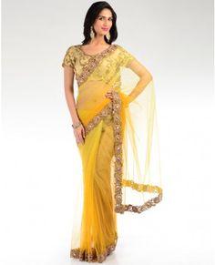 Mustard Yellow Embellished Sari