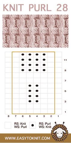 Knit and Purl Stitches for Beginner Knitters – knitting stitches easy Knit Purl Stitches, Knitting Stiches, Knitting Charts, Easy Knitting, Knitting For Beginners, Loom Knitting, Knitting Socks, Knitting Patterns Free, Knit Patterns