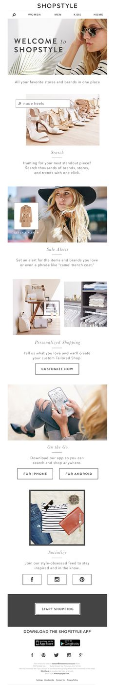 ShopStyle sent this email with the subject line: 5 Things You Have to Know About Us - Read about this email and find more e-commerce emails at ReallyGoodEmails.com #ecommerce #onboarding