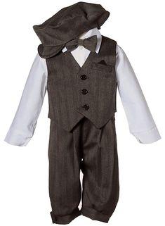 1920s Children Fashions: Girls, Boys, Baby Costumes Boys Toddler Knicker Set with Vest and Hat - Vintage Grey Stripe $34.95 AT vintagedancer.com