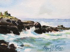 """Windy at the Point by Poppy Balser Watercolor ~ 5 x 7""""  Available for sale: $80 for 24 hours until Oct 9 2014, then $98."""