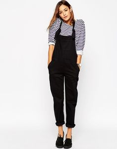 Image 1 of ASOS Denim Classic Overall With Tie Straps in Black