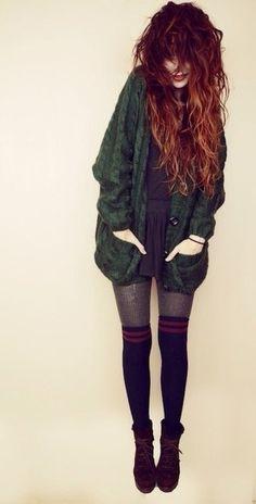 Green Boyfriend Cable knit Cardigan