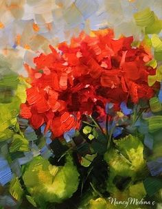 """June Bloom Geranium by Floral Artist Nancy Medina"" - Original Fine Art for Sale - © Nancy Medina"