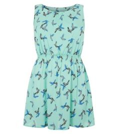 Inspire Mint Green Bird Print Skater Dress