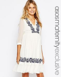 ASOS+Maternity+Prairie+Dress+With+Embroidery