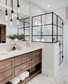 If you are looking for Farmhouse Bathroom Vanity Decor Ideas, You come to the right place. Below are the Farmhouse Bathroom Vanity Decor Ideas. This . Bathroom Vanity Decor, Bathroom Renos, White Bathroom, Bathroom Interior, Master Bathrooms, Remodel Bathroom, Bathroom Lighting, Budget Bathroom, Design Bathroom