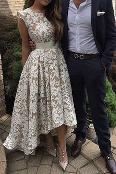 Prom Dresses For Teens, Pretty Jewel Cap Sleeves High Low Ivory Lace Prom Dress with Sash Short prom dresses and high-low prom dresses are a flirty and fun prom dress option. Homecoming Dresses High Low, Elegant Bridesmaid Dresses, Lace Homecoming Dresses, Prom Dresses 2017, Lace Party Dresses, Prom Dresses With Sleeves, Dresses For Teens, Bridal Dresses, Evening Dresses