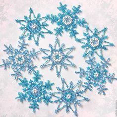 Новый год 2016 ручной работы. Снежинки из бисера и стекляруса                                                                                                                                                                                 More