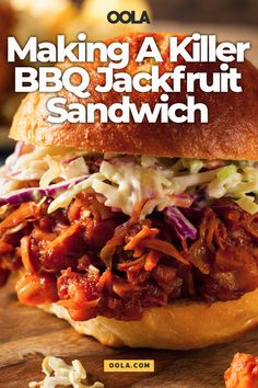 "Jackfruit, a healthy vegan alternative to shredded meat, pairs perfectly with rich and tangy barbeque sauce. Check out our recipe for an amazing BBQ jackfruit sandwich below, and ""meatless Monday"" will become your favorite day of the week! Fresh Jackfruit Recipes, Pulled Jackfruit Recipe, Jackfruit Sandwich, Vegan Bbq Recipes, Vegan Pulled Pork, Whole Food Recipes, Cooking Recipes, Jackfruit Dishes, Hamburgers"