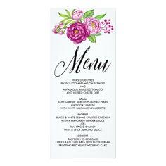 Burgundy Watercolor Peonies Wedding Menu Card