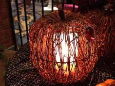 Natural Twig Pumpkin Shade - each one is hand woven so each piece is as unique as you are! Beautiful paired with the Simmering Lights Base with Orange Frosted Liner      www.LuvPZ.com