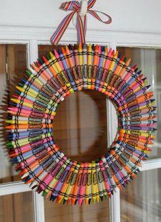 Crayon Color Burst Wreath