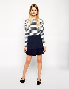 Skirt with Pleated Contrast - ASOS