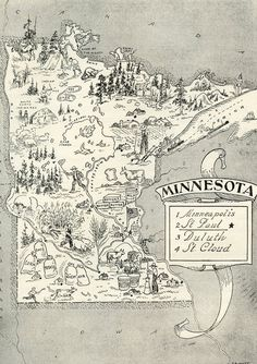 Minnesota Map ORIGINAL Vintage 1950s Picture Map - 1950s Fun  - Delightfully amusing ~ Fun & Charming Minneapolis Rochster