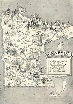 Minnesota Map ORIGINAL Vintage 1950s Picture Map - 1950s Fun - Delightfully amusing ~ Fun & Charming Minneapolis Rochster