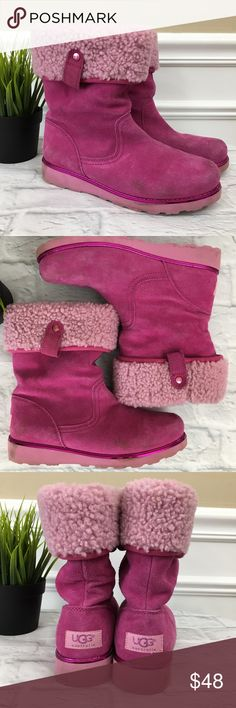 UGGpure Callie Boots Girl's Sz 4 UGGpure Callie Boots Pink Excellent Condition, a few spots Girl's SZ 4 UK Sz 3 EU Sz 34  Your girly girl will fall in love with this fluffy boot designed for a modern day princess. - Round toe - Pull-on - Suede construction - Metallic welt - UGGpure(TM) Wool insole to keep feet warm and dry - Imported Materials Suede upper, UGGpure(TM) lining, UGGpure(TM) Wool insole, lightweight and flexible EVA sole UGG Shoes Rain & Snow Boots