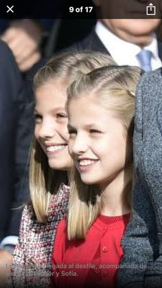 HRH Crown Princess Leonor on red and HRH Infanta Sofía of Spain on tweed. National Day of Spain.