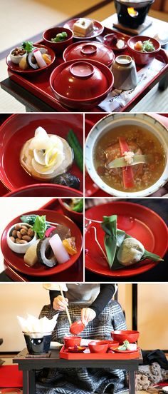 Everyone knows sushi, but do you know shojin ryori, Japanese Buddhist monks' cuisine? These vegetarian dishes are served in speciality restaurants and some guesthouse temples across Japan. Served here in red lacquer ware bowls.