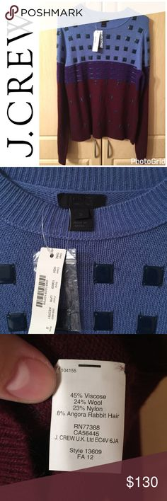 J Crew Color Block Beaded Sweater NWT Lapis Raisin J Crew Color Block Beaded Sweater NWT Lapis Raisin, Full Length Sleeve, Style 13609, Retails $198, From Smoke & Pet Free Home J. Crew Sweaters