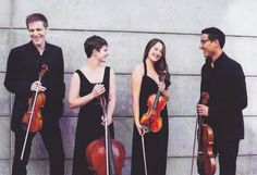 The members of the Thalea String Quartet: Christopher Whitley, Bridget Paskar, Kumiko Sakamoto, and Luis Bellorin