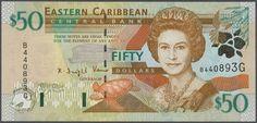Banknotes - America, Michel Pick 34g, 34k, 34l, 34u, 34v, 40g - Eastern Caribbean States: set with 6 Banknotes 50 Dollars Grenada, Pick 34g and 40g, 50 Dollars St. Kitts, Pick 34k, 50 Dollars St. Lucia, Pick 34l, 50 Dollars Anguilla, Pick 34u and 50 Dollars St. Vincent, Pick 34v. (6 Banknotes, all in UNC condition)  Dealer Gärtner Christoph Auktionshaus  Auction Starting Price: 400.00 EUR