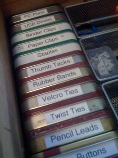 Altoid tins for storage.