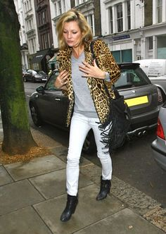 kate moss leopard print black booties fashion