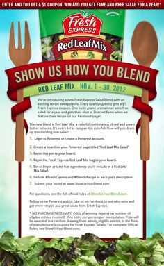 Submit your entry at  www.ShowUsYourBlend.com. See an example board and all the pins you need to get started on Pinterest http://pinterest.com/freshexpress/show-us-how-you-blend-sweepstakes/. #FreshExpress #BlendsRecipe