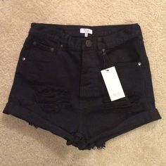 NWT BLACK HIGH WAISTED TOBI SHORTS Size 28. New with tags! Cute destroyed look on the front, folded bottoms, perfect for summer! I am a 26 and they look cute/baggy on me, would fit from 26-28! Super comfortable! Tobi Shorts Jean Shorts