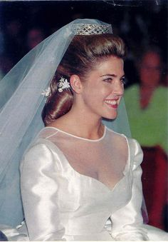 Princess Clotilde Jacqueline Charlotte Marie of Orléans wearing the Countess of Paris' Diamond Bandeau Tiara, France (diamonds). Royal Wedding Gowns, Sheath Wedding Gown, Royal Weddings, Wedding Dresses, Royal Tiaras, Royal Jewels, Style Royal, French Royalty, Royal Brides