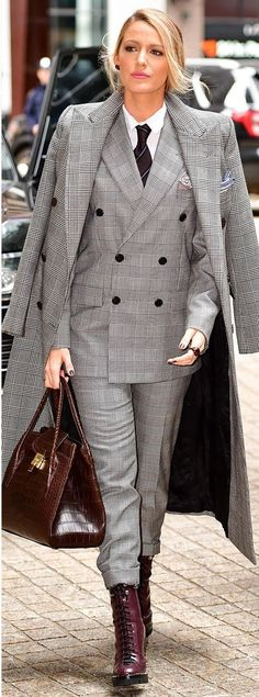 Blake Lively in a Ralph Lauren plaid suit and coat with red combat boots - click through to see more of Blake's amazing outfits