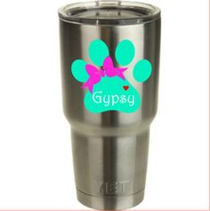 Paw Print with Bow Decal for Yeti Cup! Choose your color! Perfect for all Dog Lovers! by RedandthePug on Etsy