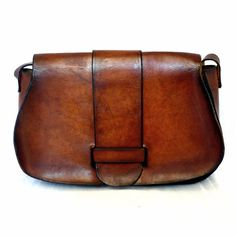 French Vintage 70s Brown Leather Satchel
