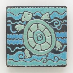 Turtle,ceramic,clay,square,small tile, a raku fired art tile,home decor,