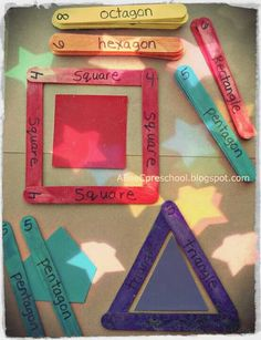 Create a shape using popsicle sticks (use velcro to stick together).