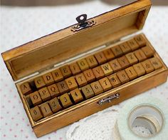 Antique Alphabet and Number Rubber Stamp Set