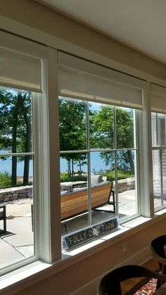 Home Motorized Lutron roller shades installed in a dining room in Yarmouth, Maine. Extremely quiet m House Blinds, Blinds For Windows, Windows And Doors, Blinds For Patio Doors, Shades For Windows, Wall Of Windows, Sunroom Windows, Exterior Windows, Balcony Doors