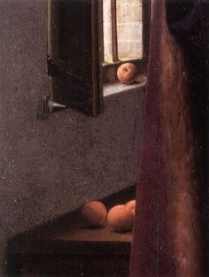 Fruit on windowsill and bench, detail from The Arnolfini Wedding Portrait by Jan Van Eyck. 1434. The National Gallery, London.