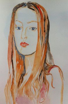 Face from a fashion magazine, watercolour, 2014