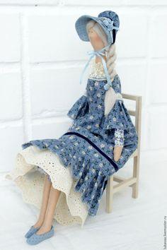 Купить Кукла текстильная Анетт. Кукла в стиле Тильда. - синий, кукла Тильда, кукла в шляпе ♡