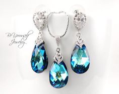 Bermuda Blue Earrings and Necklace Set Bridal Peacock Matching Set Sparkly Cubic Zirconia Swarovski Crystal Bridesmaid Gift Something Blue
