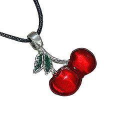 Red Cherries Pewter Pendant Necklace Dan Jewelers,$13.57
