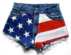 Pair theseAMERICAN FLAG Vintage High Waisted DENIM Cut-Offs with boots to complete your look