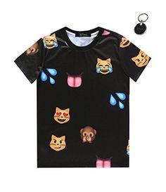00132d328742d Cheap Black Emoji Cat Monkey Printed Clothing Men Short-Sleeved Cotton T-shirt  Plus Size